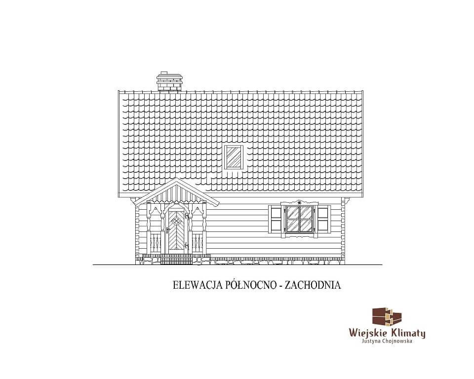 projekt chaty mazurskiej z bali drwnianych panienka 2,3