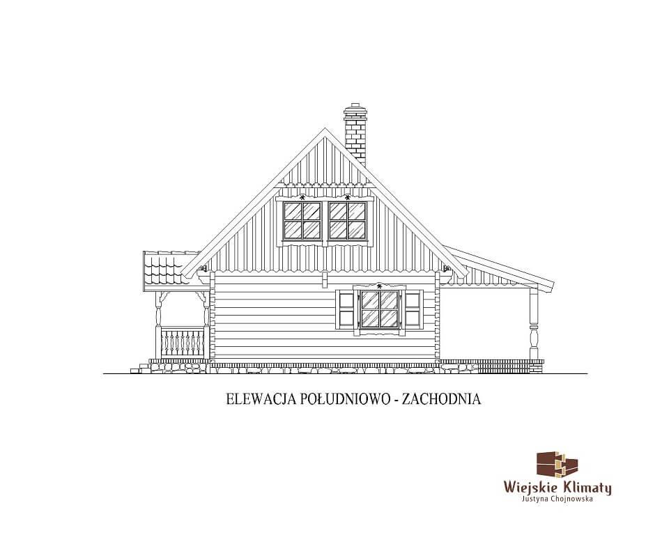 projekt chaty mazurskiej z bali drwnianych panienka 2,5