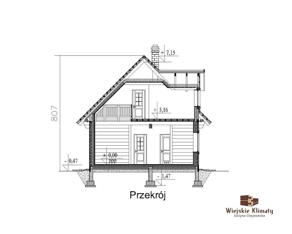 projekt domu drewnaiego maranka 5,7