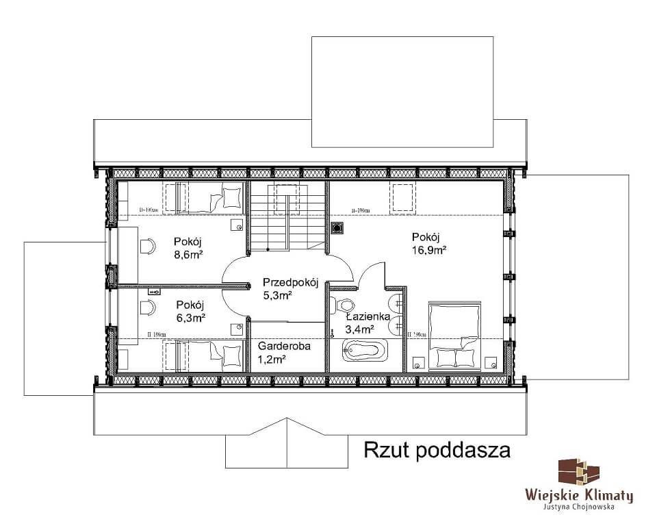 projekt domu drewnianego borowina 5,2