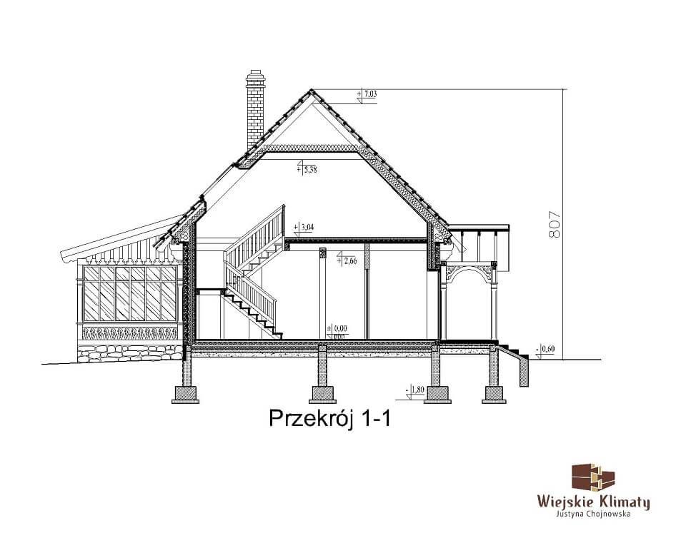 projekt domu drewnianego borowina 5,3