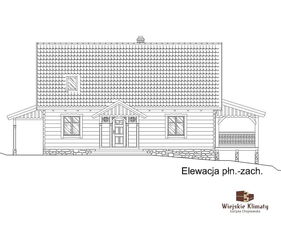 projekt domu drewnianego borowina 5,4