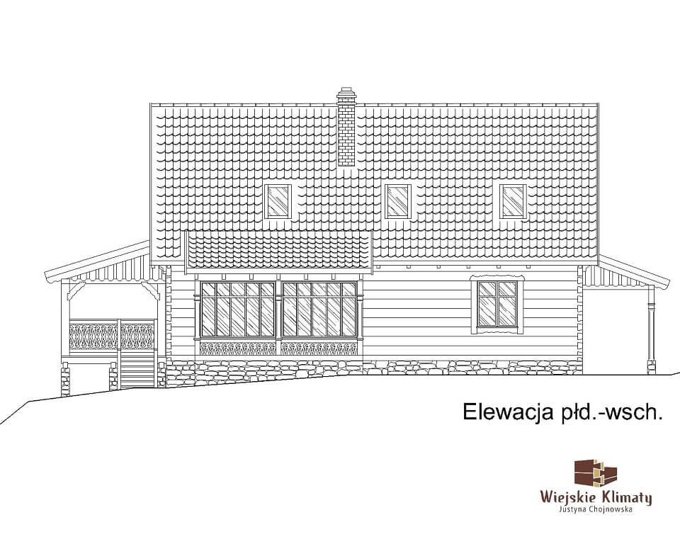projekt domu drewnianego borowina 5,5