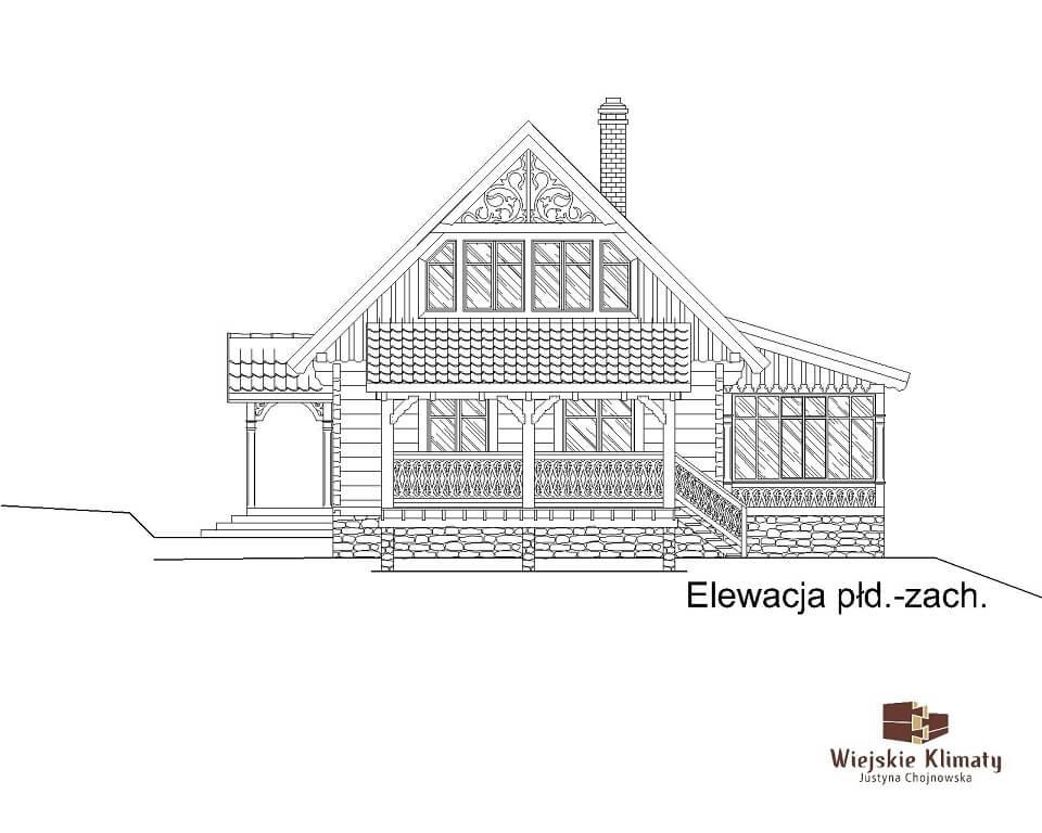 projekt domu drewnianego borowina 5,6