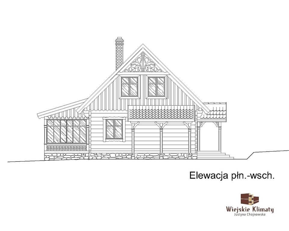 projekt domu drewnianego borowina 5,7