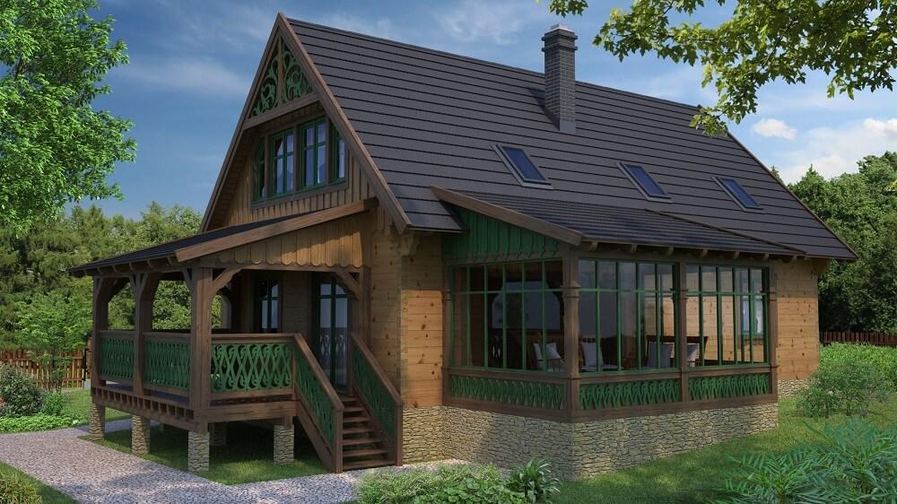 projekt domu drewnianego borowina 5,9