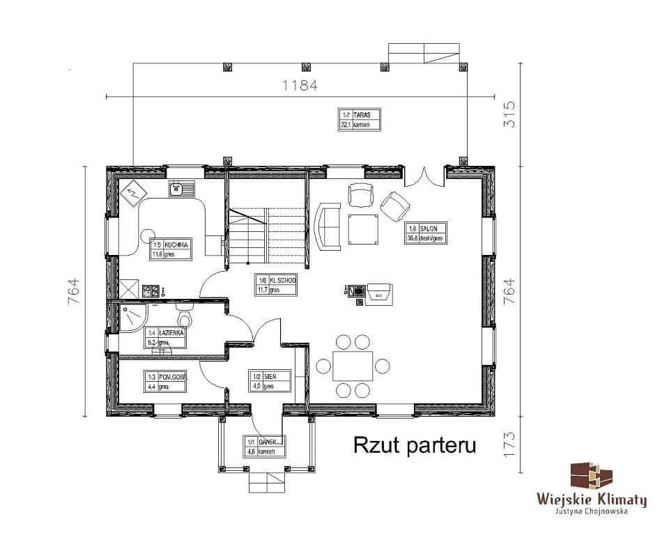 projekt domu drewnianego borowina 6,1