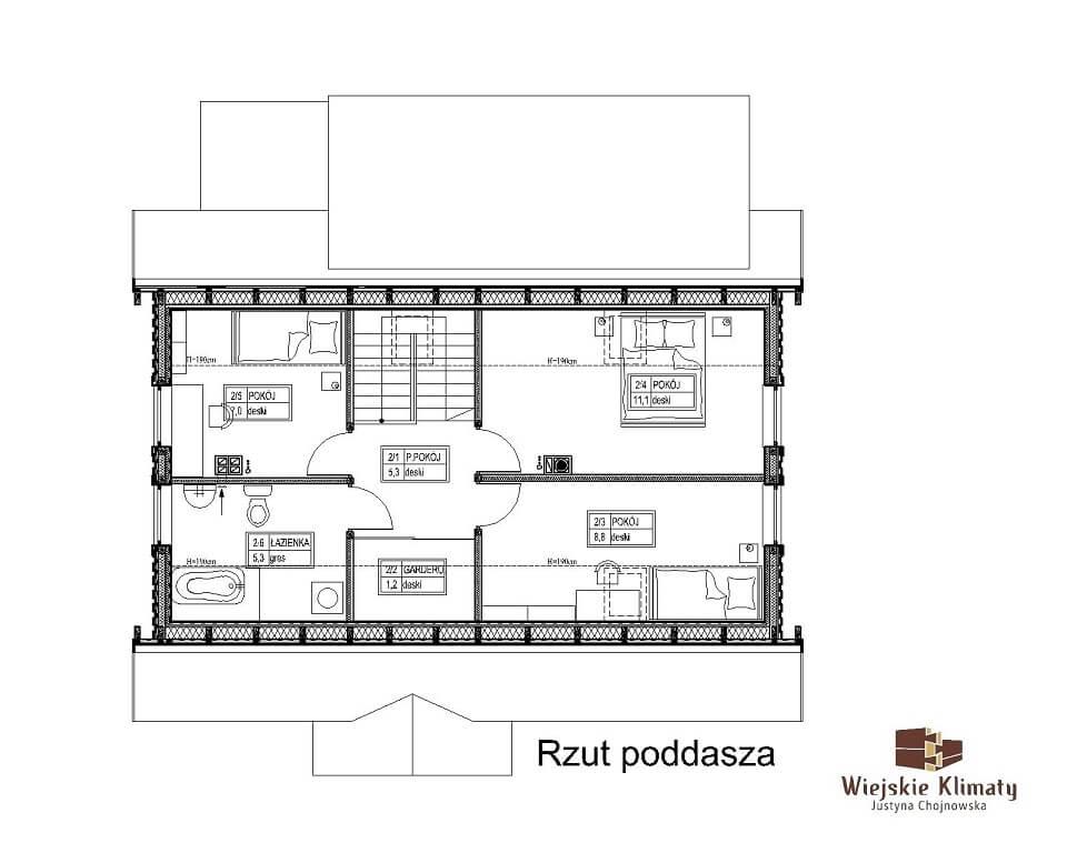 projekt domu drewnianego borowina 6,2