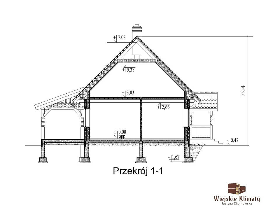 projekt domu drewnianego borowina 6,3