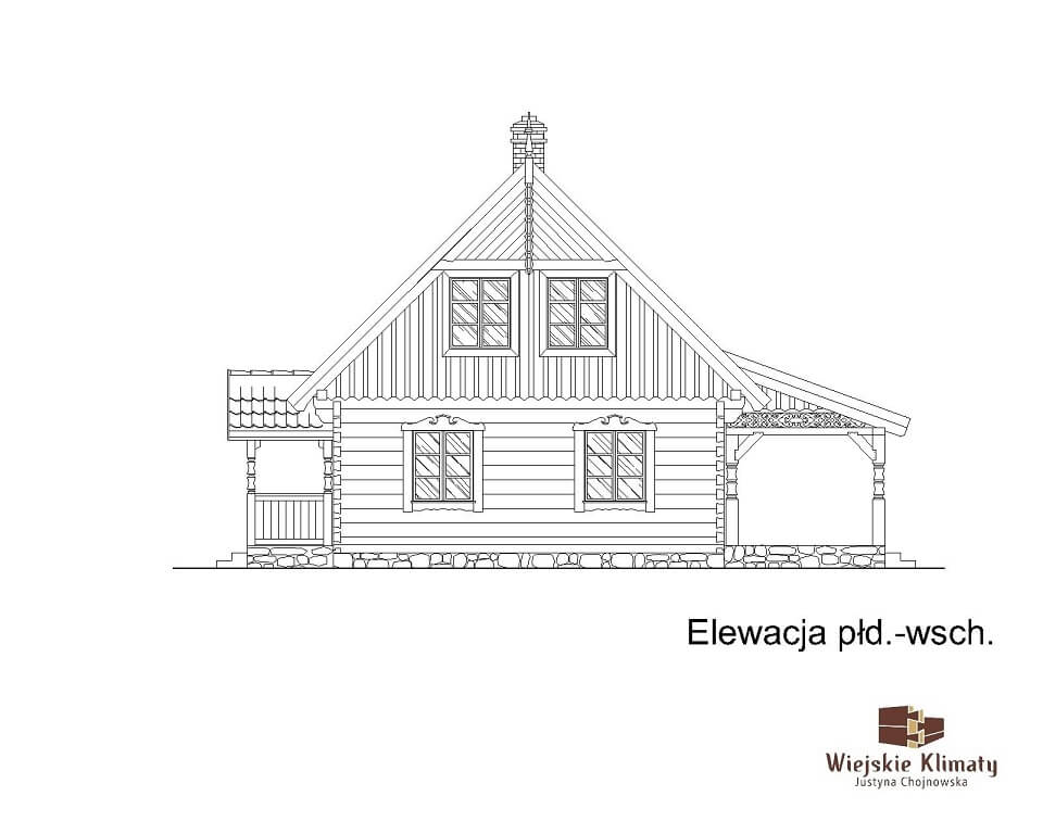 projekt domu drewnianego borowina 6,6