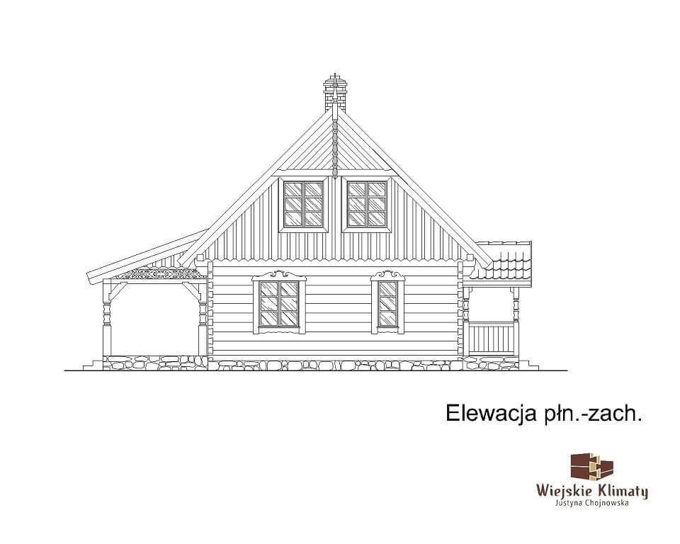 projekt domu drewnianego borowina 6,7