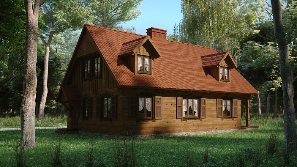 projekt domu drewnianego dobrota 1,10