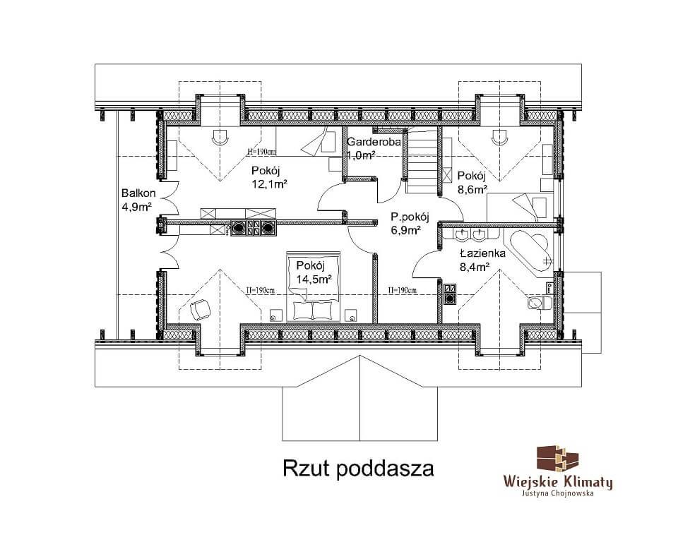 projekt domu drewnianego dobrota 1,2