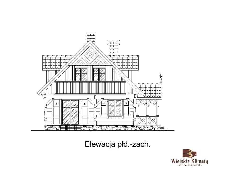 projekt domu drewnianego dobrota 1,5