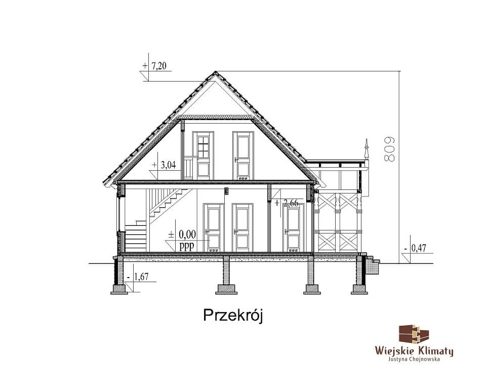 projekt domu drewnianego dobrota 1,7