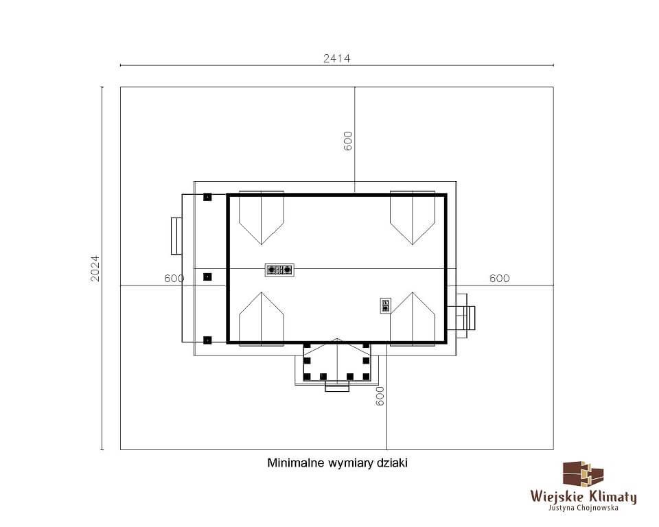 projekt domu drewnianego dobrota 1,8