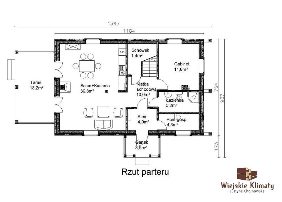 projekt domu drewnianego mazurskiego borowina 2,1