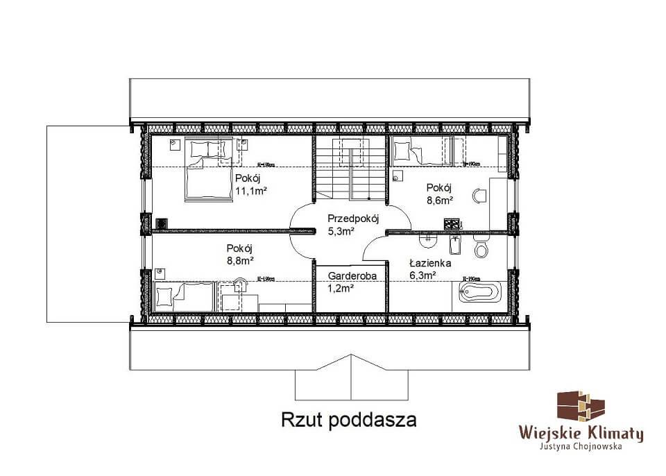 projekt domu drewnianego mazurskiego borowina 2,2