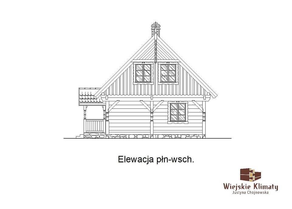 projekt domu drewnianego mazurskiego borowina 2,4
