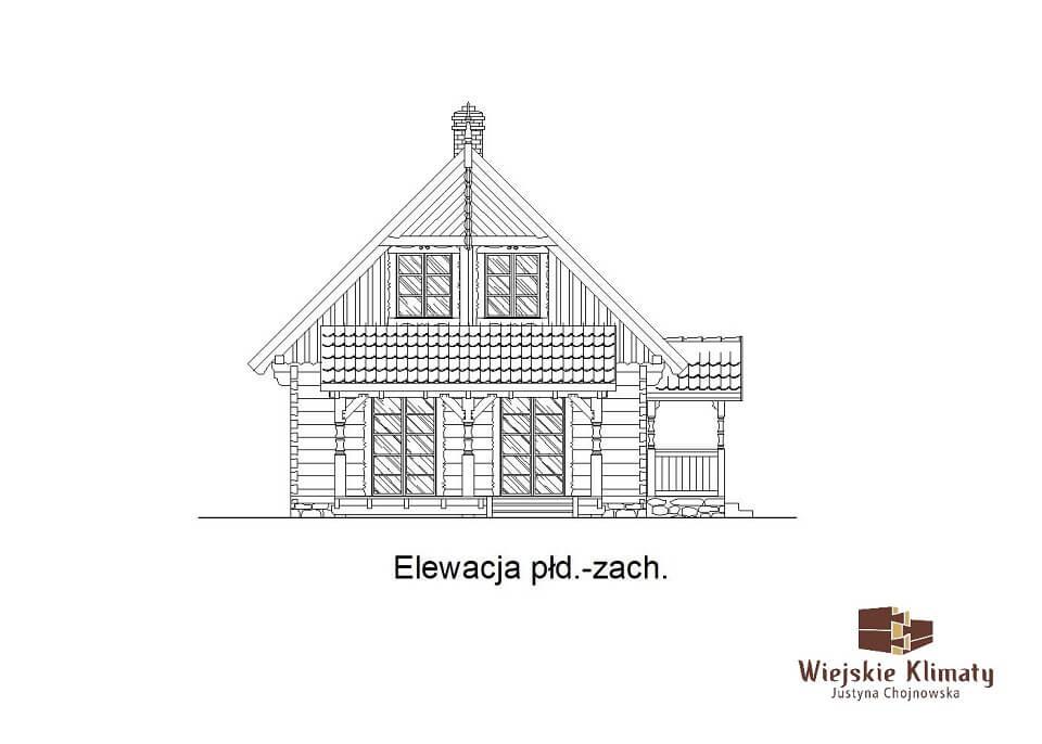 projekt domu drewnianego mazurskiego borowina 2,5