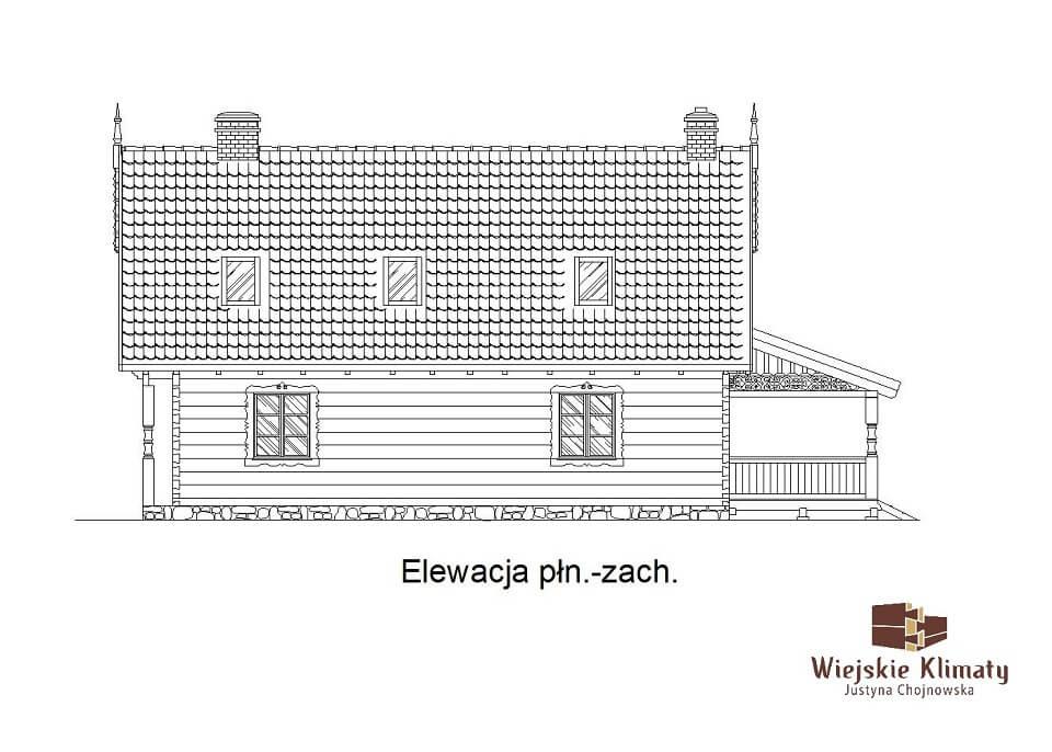 projekt domu drewnianego mazurskiego borowina 2,6