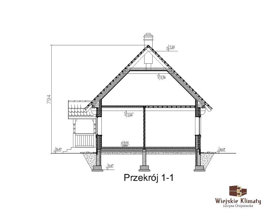 projekt domu drewnianego mazurskiego borowina 2,8