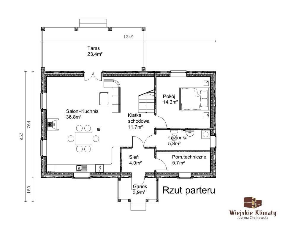 projekt domu drewnianego mazurskiego borowina 4,1
