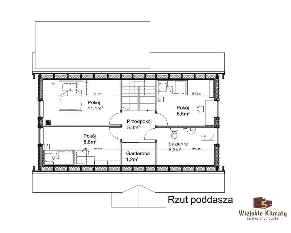 projekt domu drewnianego mazurskiego borowina 4,2