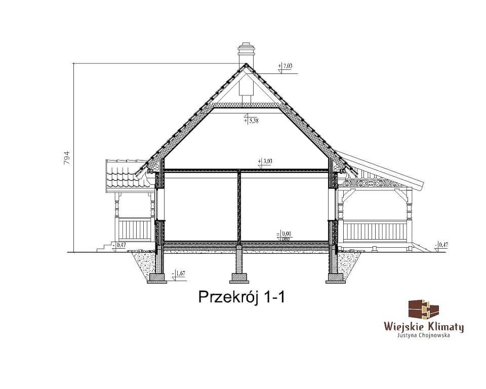 projekt domu drewnianego mazurskiego borowina 4,3