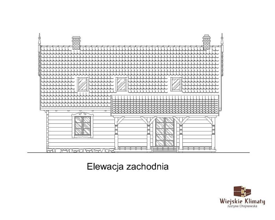 projekt domu drewnianego mazurskiego borowina 4,5