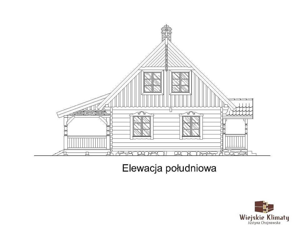 projekt domu drewnianego mazurskiego borowina 4,6