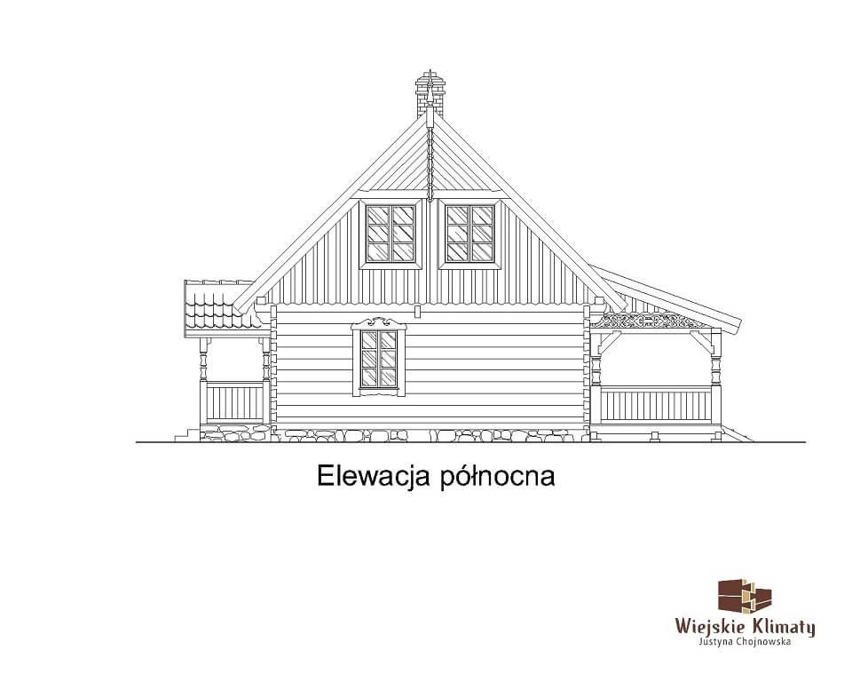 projekt domu drewnianego mazurskiego borowina 4,7