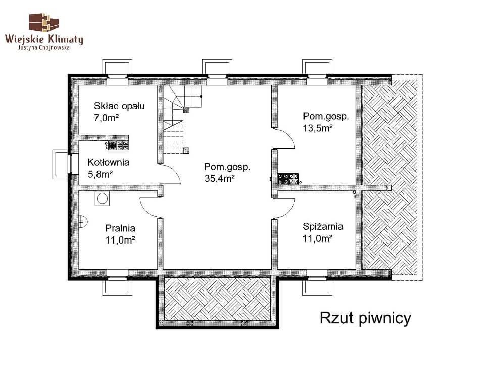 projekt domu drewnianego mazurskiego chojniak 1,1
