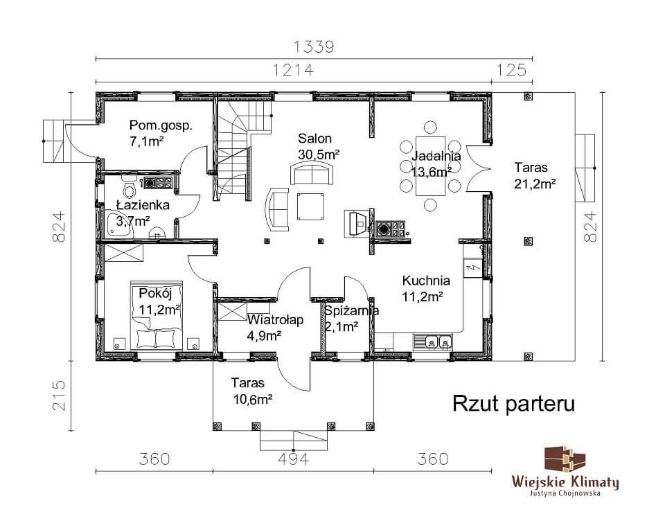 projekt domu drewnianego mazurskiego chojniak 1,2