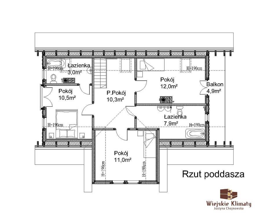 projekt domu drewnianego mazurskiego chojniak 1,3