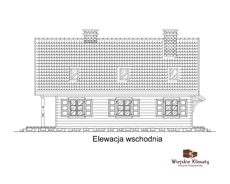 projekt domu drewnianego mazurskiego chojniak 1,4