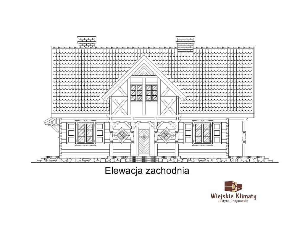projekt domu drewnianego mazurskiego chojniak 1,5