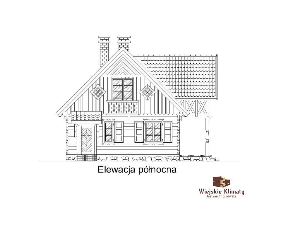 projekt domu drewnianego mazurskiego chojniak 1,6