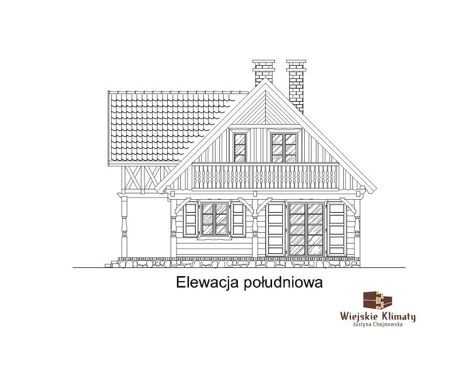 projekt domu drewnianego mazurskiego chojniak 1,7