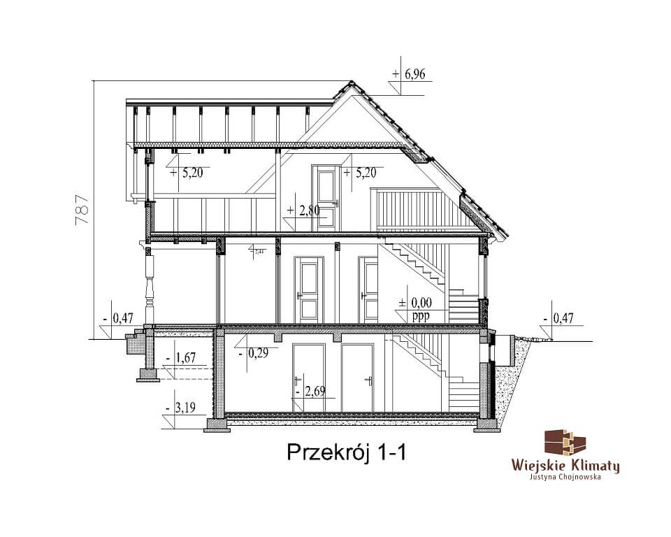 projekt domu drewnianego mazurskiego chojniak 1,8