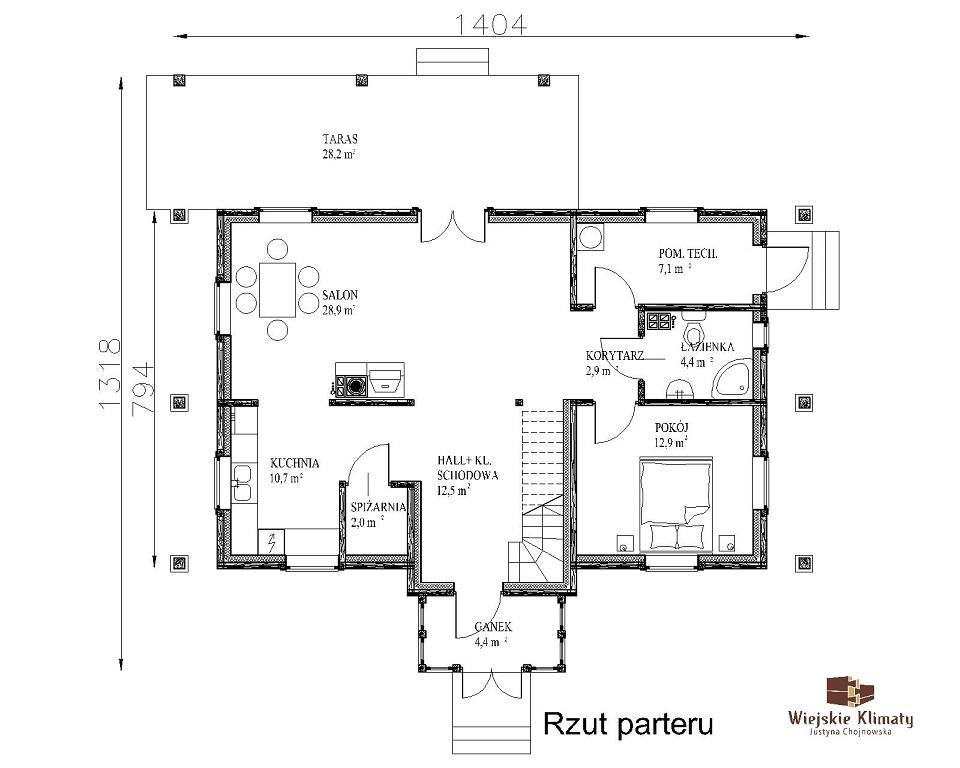 projekt domu drewnianego mazurskiego dziewcak 1.1