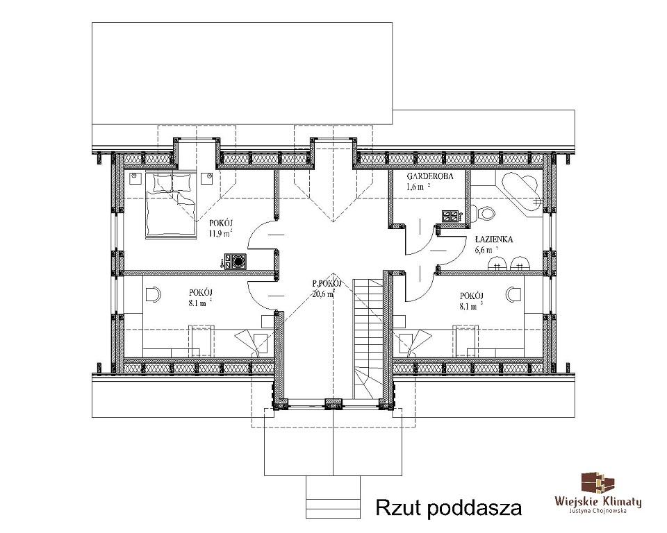 projekt domu drewnianego mazurskiego dziewcak 1.2