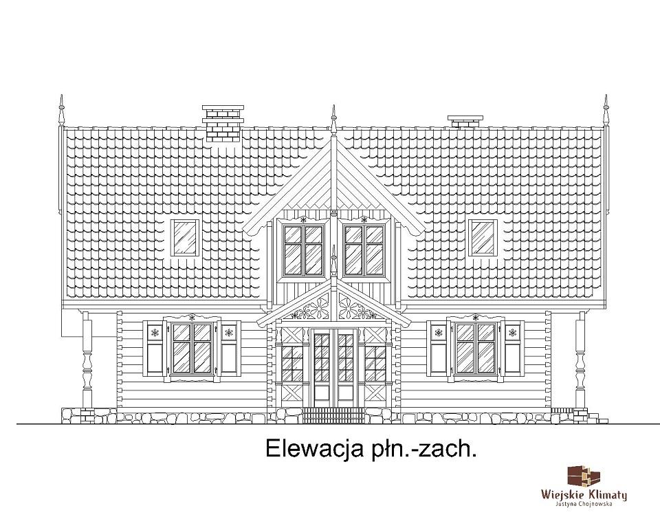 projekt domu drewnianego mazurskiego dziewcak 1.3