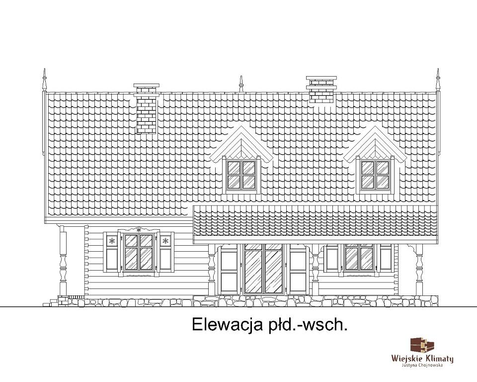 projekt domu drewnianego mazurskiego dziewcak 1.4