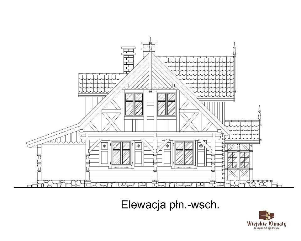 projekt domu drewnianego mazurskiego dziewcak 1.5
