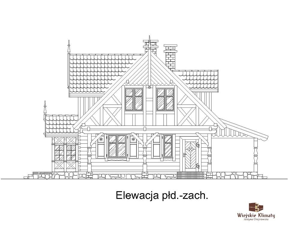 projekt domu drewnianego mazurskiego dziewcak 1.6