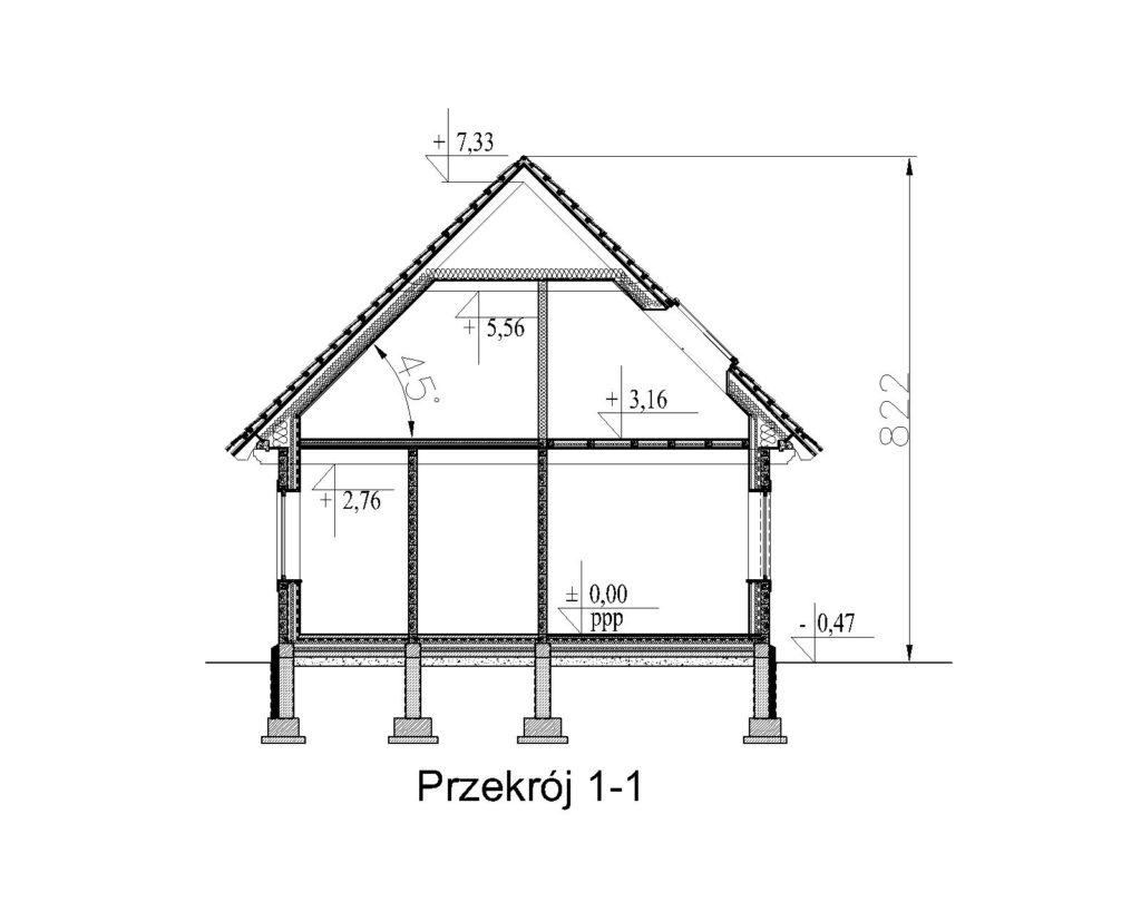 projekt domu drewnianego mazurskiego dziewcak 1.7