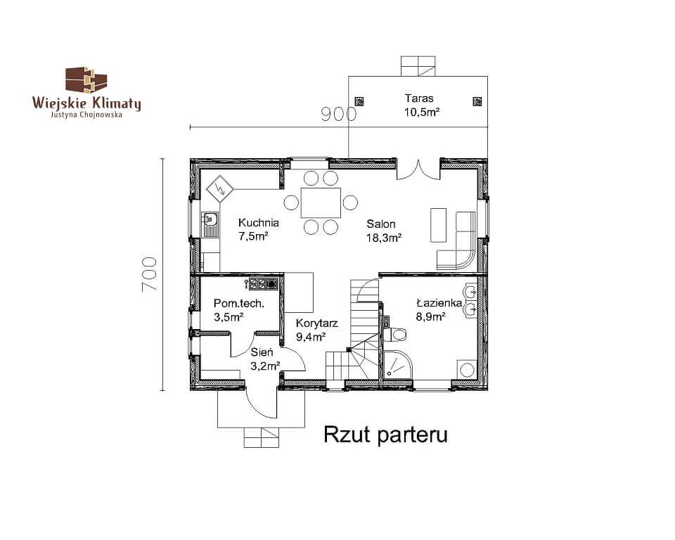 projekt domu drewnianego mazurskiego frejlenka 1,1