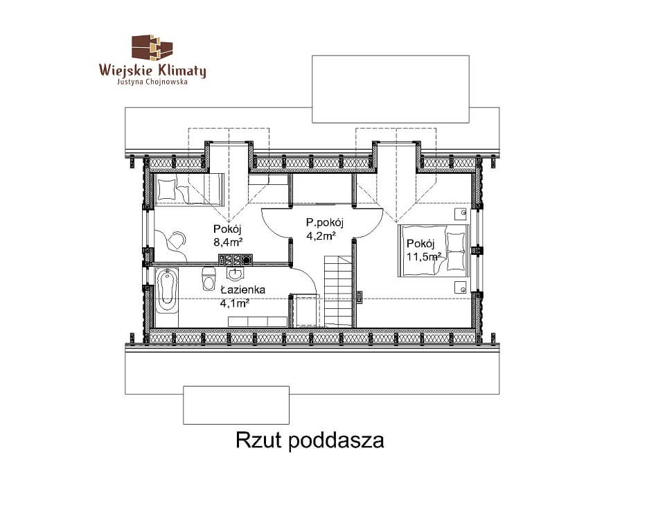 projekt domu drewnianego mazurskiego frejlenka 1,2