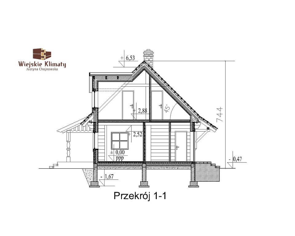 projekt domu drewnianego mazurskiego frejlenka 1,7